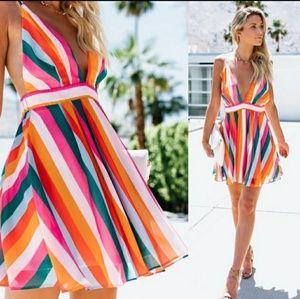 Stripe Open Back Dress